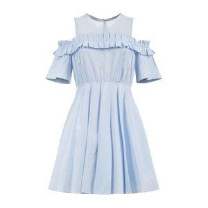 Sandro Smocky Cold-shoulder Dress In Blue